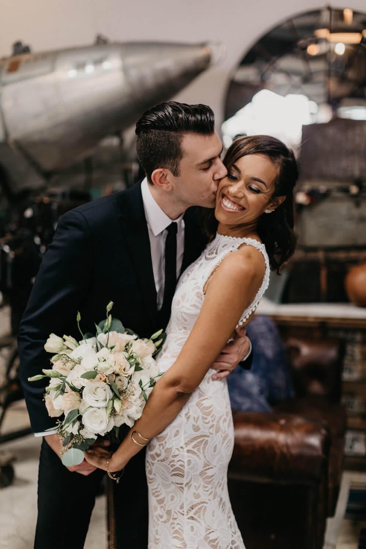 Kalia and Joe, Kalia wears a GRACE LOVES LACE wedding dress
