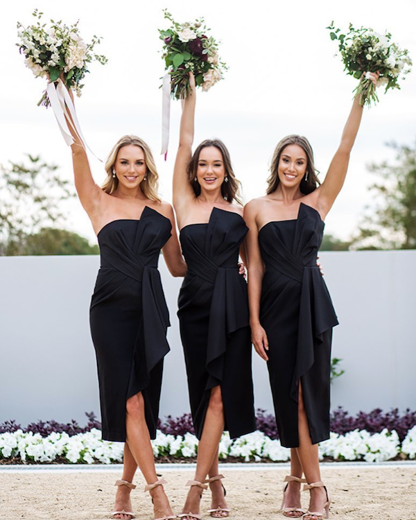 White Runway bridesmaid dresses featured on LOVE FIND CO.