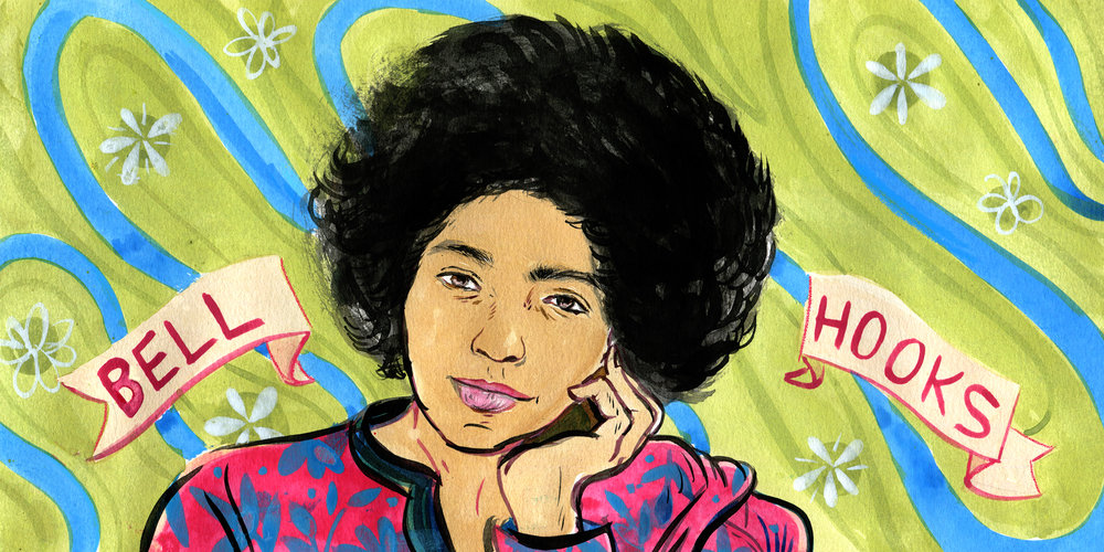 Illustration of Bell Hooks for Writing on Glass.  AD Stephanie Newman