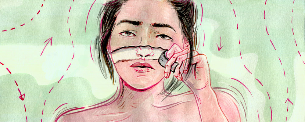 Illustration for a piece that focuses on the argument over whether it's possible to treat BDD with plastic surgery.  AD Callie Beusman