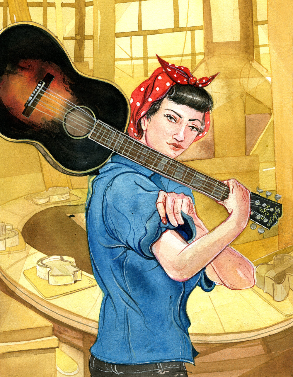 Illustration of a Kalamazoo Girl for SheShreds magazine.  AD Lauren Baker