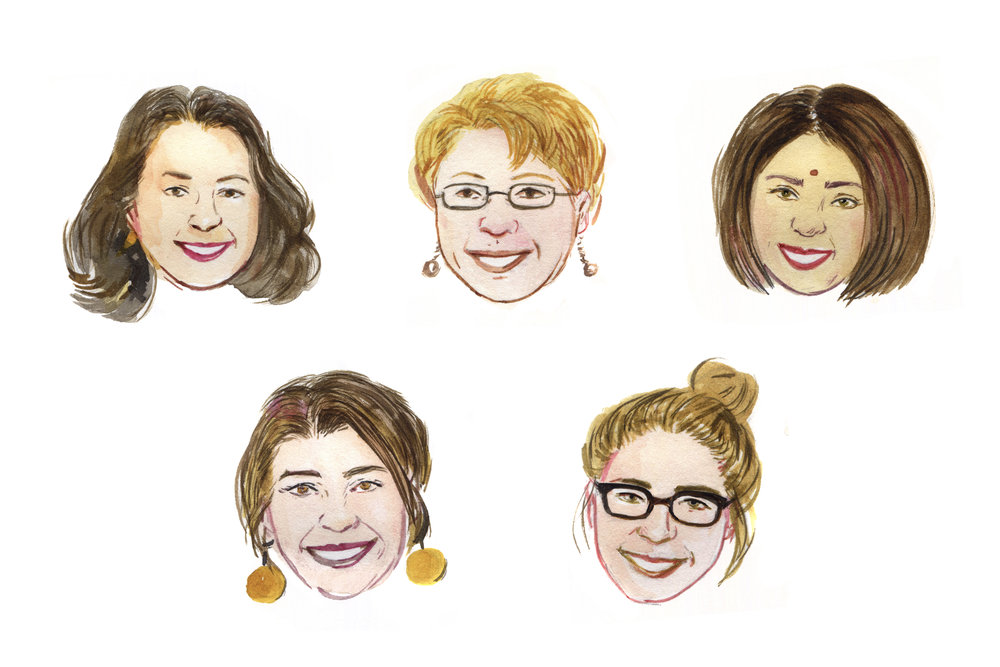 Spot portrait illustrations of professional women leading in their fields.  AD Jess Downey