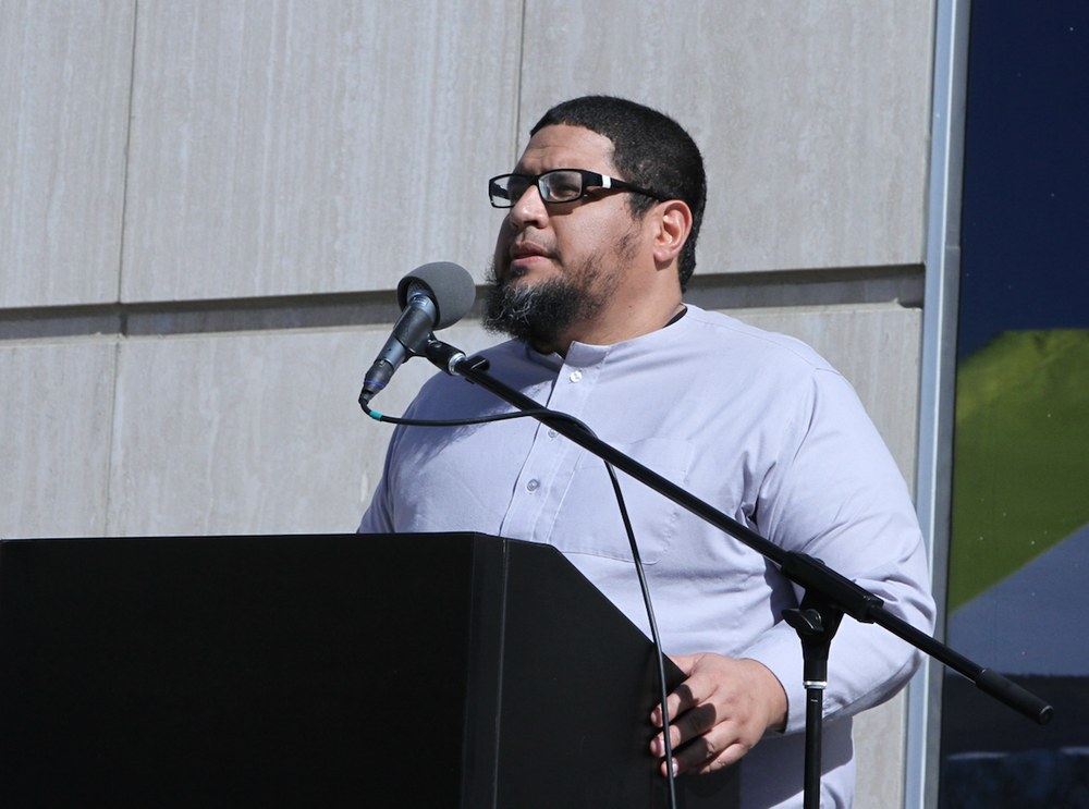 Imam Isa Parada shares some word at the grand opening of what is believed to be the nation's first Spanish-speaking mosque. (Courtesy photo from Islam In Spanish)