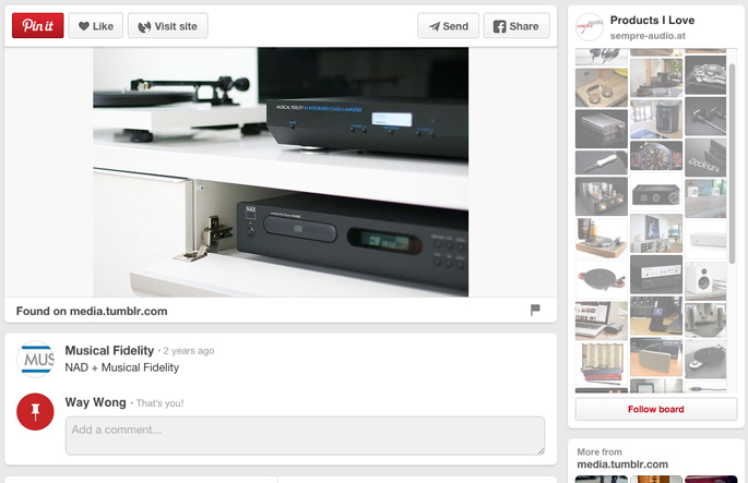 "Our product stock photo of the ""Musical Fidelity A1 Integrated Amp"" was featured on Musical Fidelity's own pinterest board as well as their product website. See the actual image featured  here  <<<--- Click"