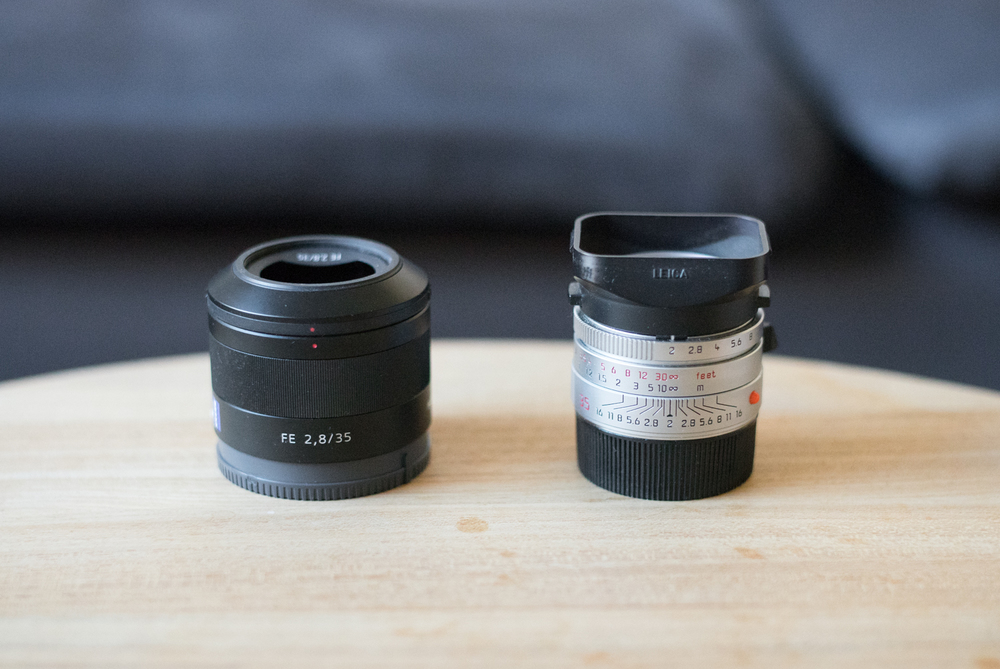 The little zeiss next to an already small leica summicron 35mm f/2