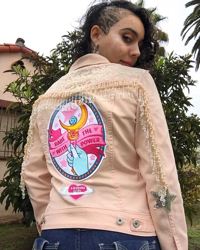 Babe with the power. 🌙✨ You guys, this is my new favorite jacket forever. It combines two of my most favorite things, Sailor Moon and Jim Henson's Labyrinth!! 😍 I had so much fun making this. If you want to see more of my work, including details of this piece, give my art page @avataradesigns a follow! 💖
