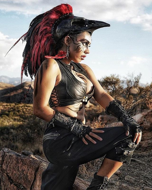 Valkyrie. 🔥 Vest, gloves, and shorts designed by @anahatadesigns. Headdress and makeup by Ava Youssefi/@avataradesigns. Shot by @capturesbydon.  This was such an epic shoot! I'm looking for more designers and photographers to collaborate with. Let's have fun and create some magic! ✨