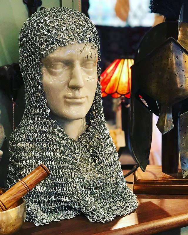 It's #GameOfThrones Monday, and we are tempted to dress up for the occasion. We have a great range of battle helmets in store, priced at $298 #chainmail #medieval #helmet #gift #present #melbourne #olinda