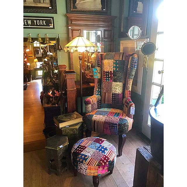 Now back in stock! Our famous High Back chairs; available in Antique (shown), Red and Blue $1200. Footstools $198