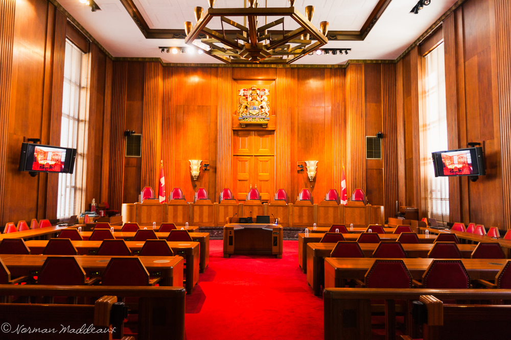 """SupremeCourtOfCanada-MainCourtRoom-7350"" by Norman Maddeaux is licenced under CC ND 2.0."