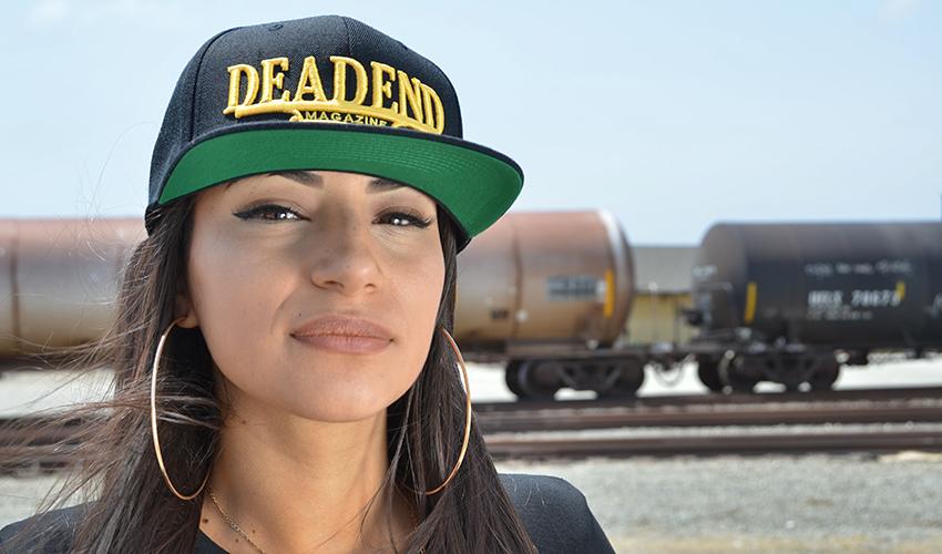 Genesis looks good in the Deadend Magazine Plaque hat