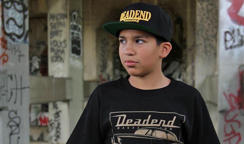 Young photographer Julian Nunez (Kid Nunez Photography)with his Deadend Magazine Plaque hat.