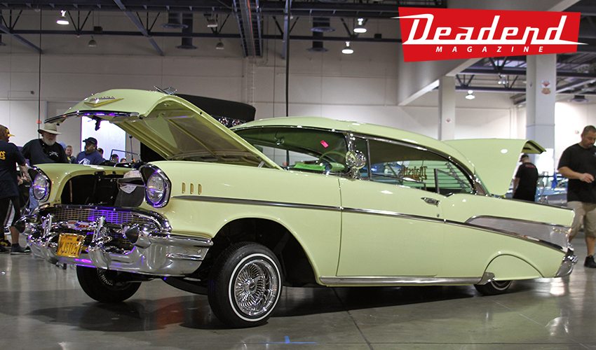 Really clean '57 getting set up at the Lowrider Super Show