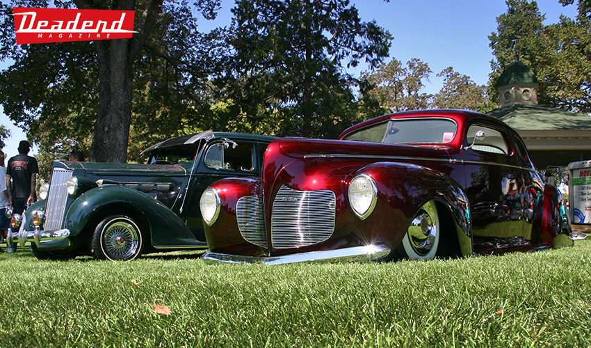 Here is Paul Cepeda's custom Desoto next to a Packard.