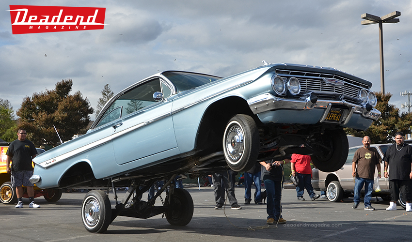 This '61 is a really clean car that has never gets hopped. The owner wanted to see what it can do so he let the Stack Life Hydraulics hit the switches.