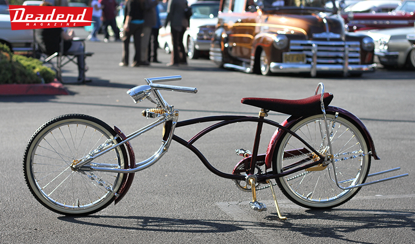 Really cool low rider bike on display.