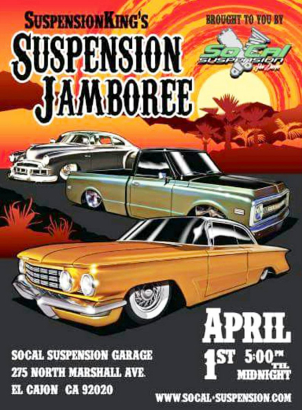 "So Cal Suspension is hosting the ""Suspenion Jamboree"" in El Cajon, CA 5pm - 12am"