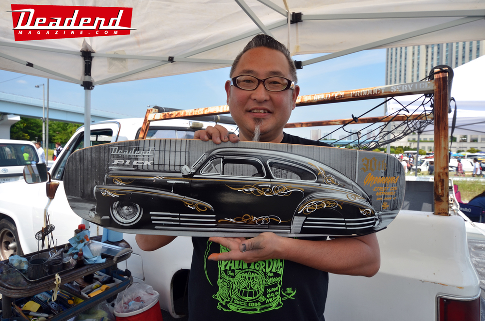 """Thanks to the talented Ken """"The Flat Top"""" for pinstriping our skate deck."""