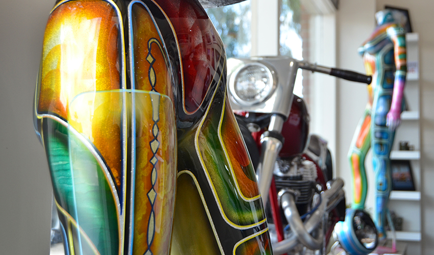 Syrarium painted mannequins and AE Customs' custom built bike on display