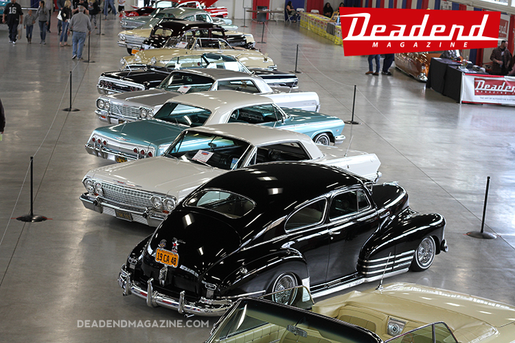 An overhead shot of some of the Low Riders we invited to the Low Rider Exhibit.