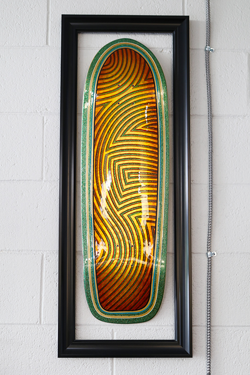 A new skateboard at the store by Phil at Syrarium Studios.