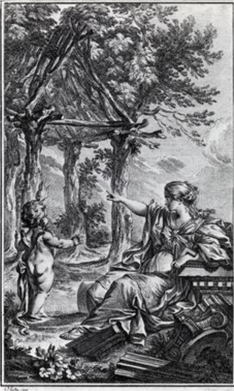 Fig 3. Laugier's Primitive Hut, Essai sur l'Architecture , frontispiece by  Charles-Dominique-Joseph Eisen