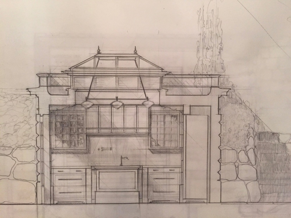 Western elevation of the plans to expand an existing kitchen.