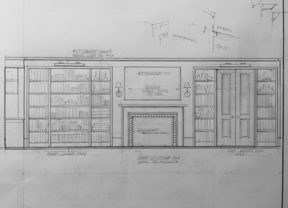 Planning a library as part of a new living space that will occupy the previously unfinished basement of an historic home.