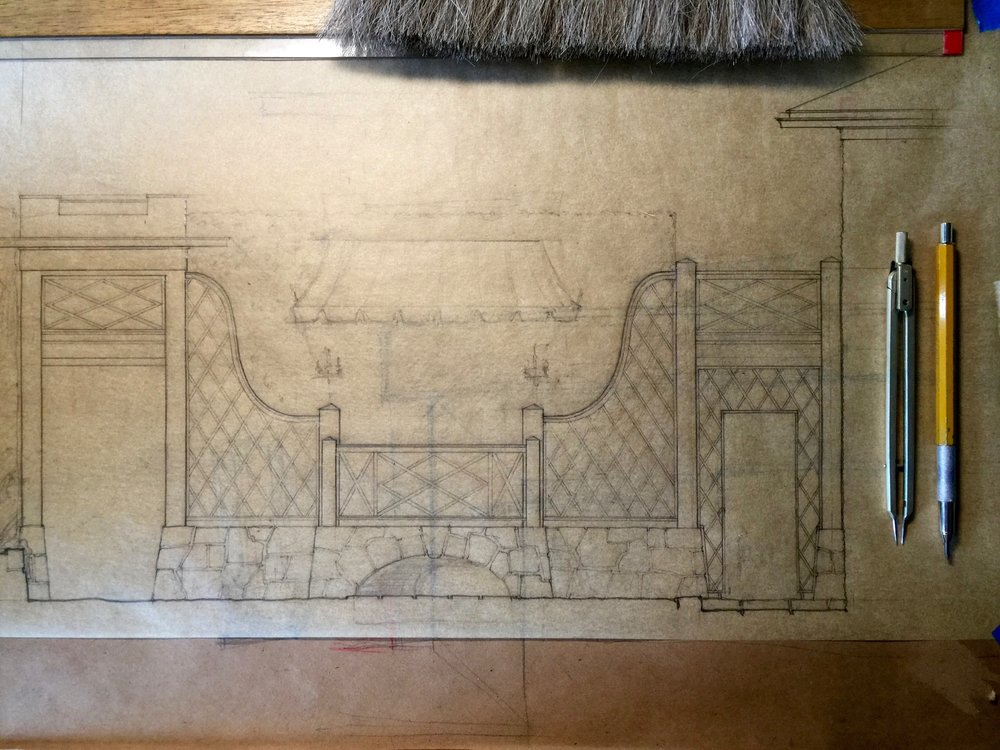 Measured Drawing for a Garden Screen Wall