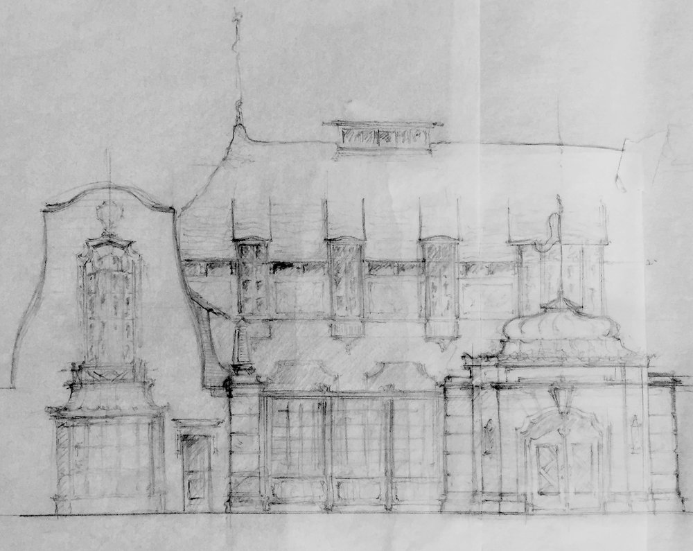 Sketch of a pseudo-Bavarian House with Forecourt