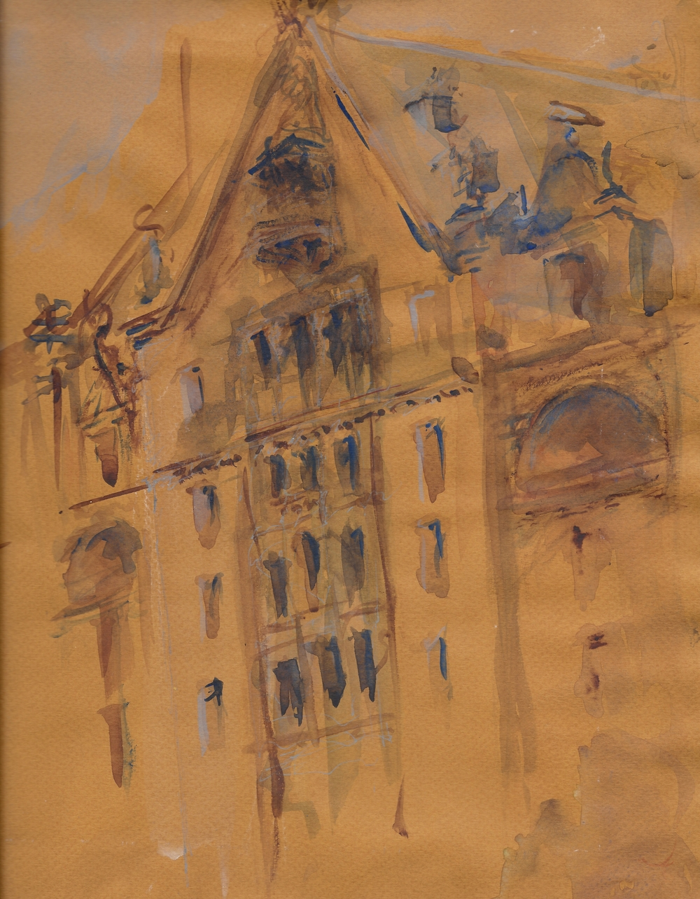 Watercolor on Toned Paper, The Dakota, NYC