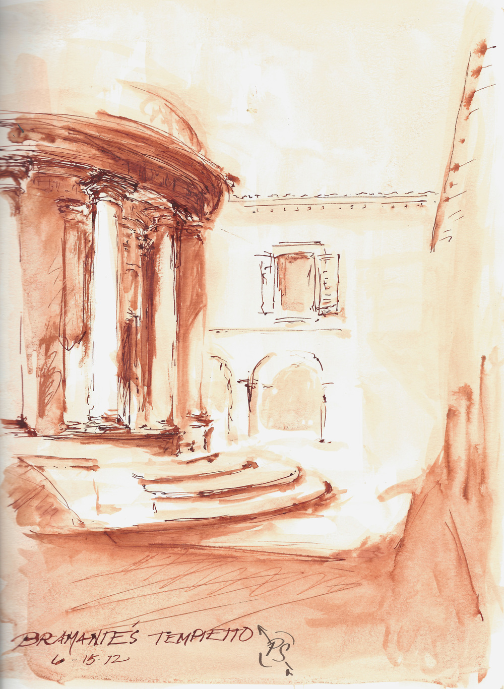 Pen and Ink, Bramante's Tempietto