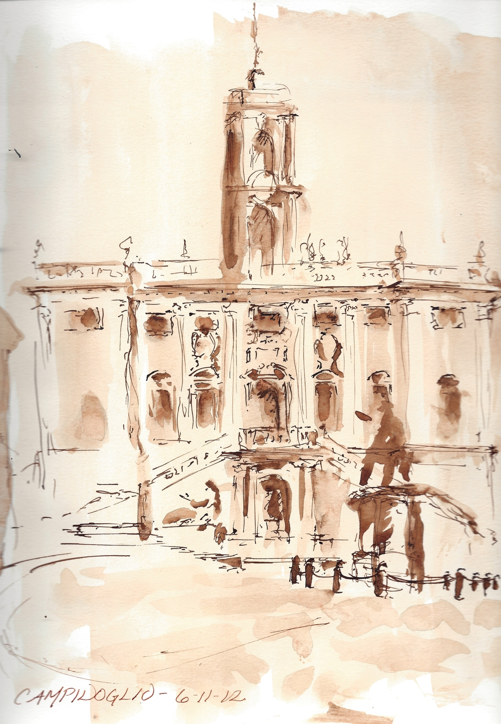 Pen and Ink,Michelangelo's Campidoglio