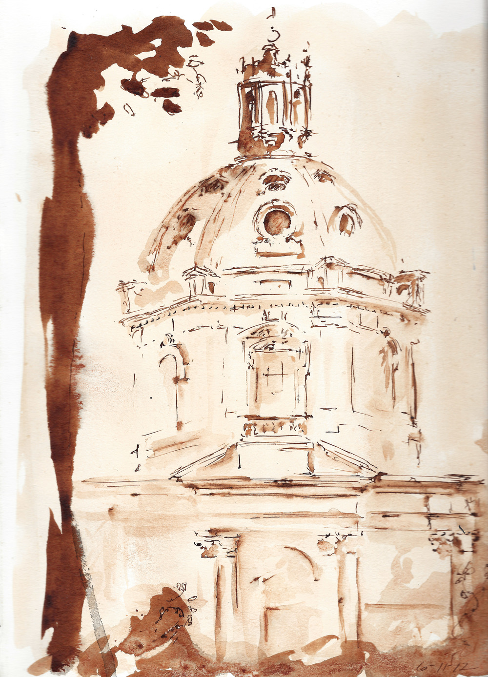 Pen and Ink, church in Rome