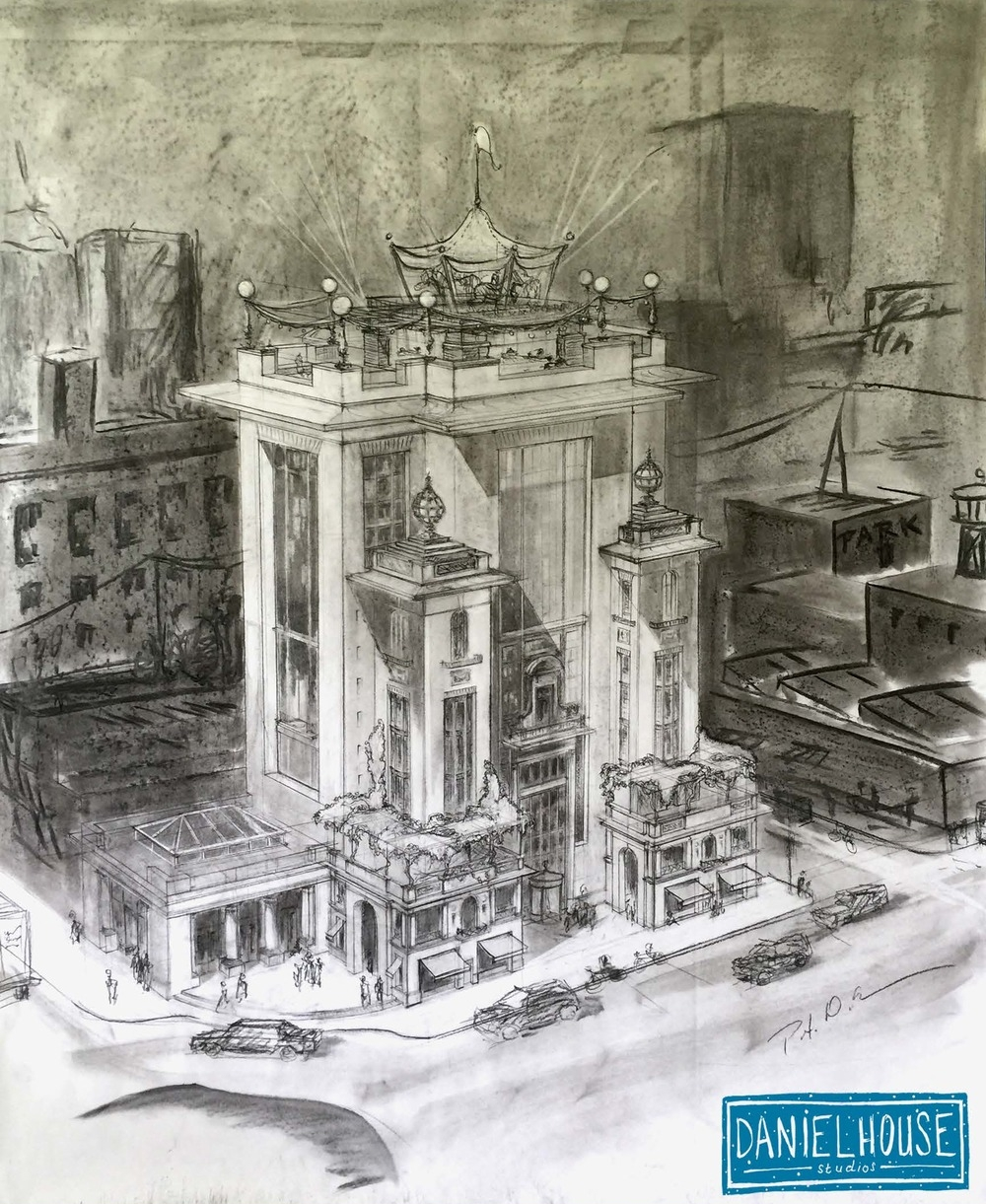 Charcoal Drawing of an Apartment Tower