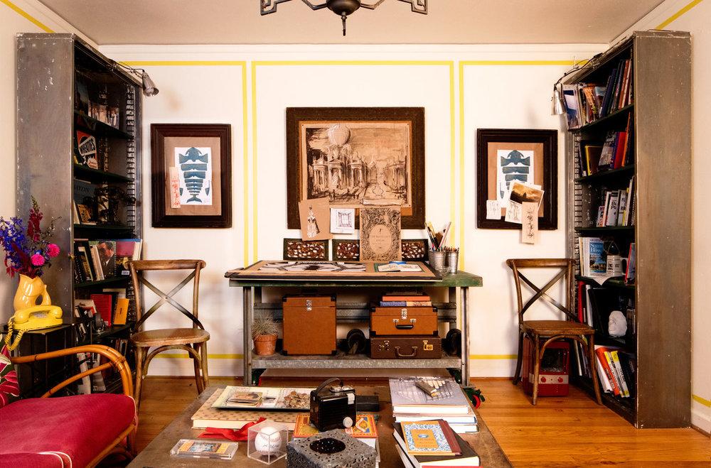 Brightly colored living room in Portland Oregon apartment. Color in small spaces. Portland interior design. Daniel House.