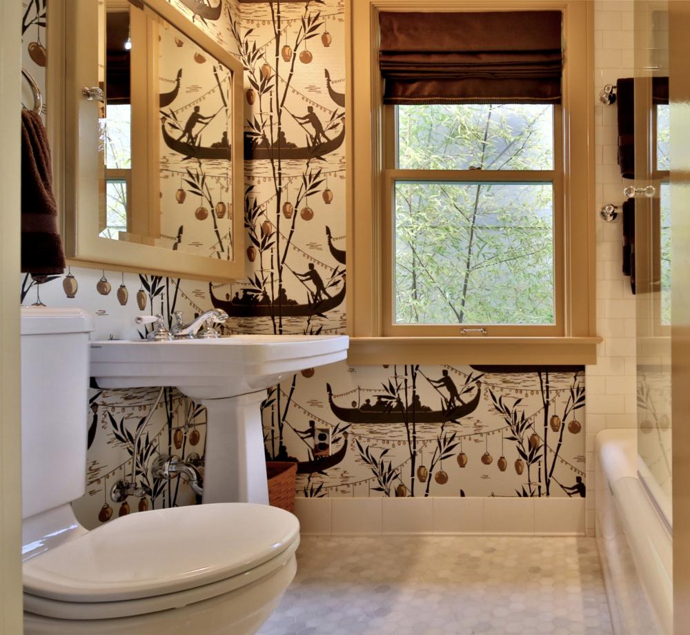 gondola wallpaper adds a sense of romance to this bathroom.