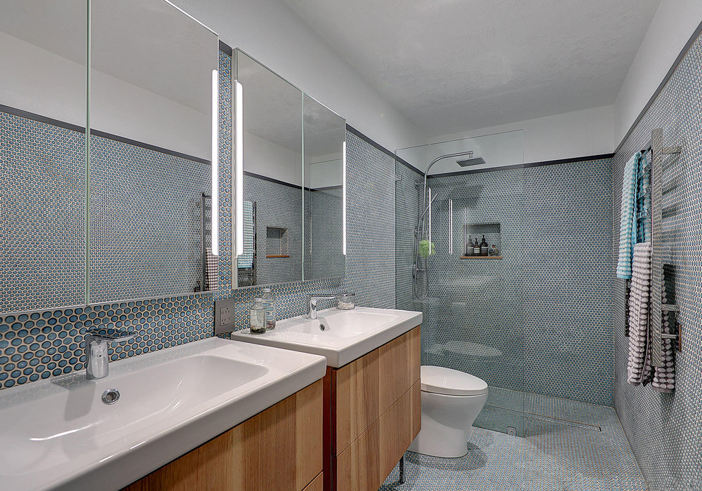 Penny tile added a nice touch to this bathroom.