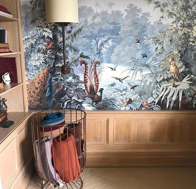 This Constantine wallpaper mural by Et Cie makes a statement in this master bedroom alcove.