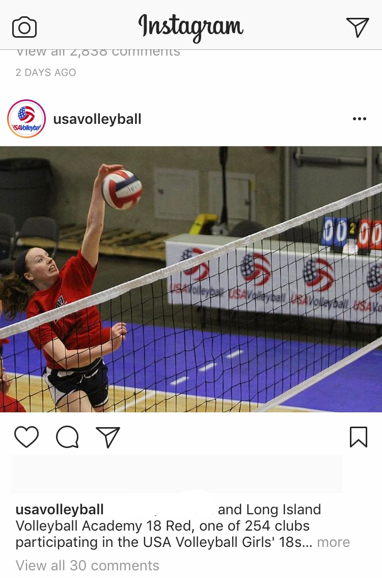 Jamie Smith  of Academy Volleyball's 18 Red team is featured by USA Volleyball on their social media handles during the opening of the tournament.