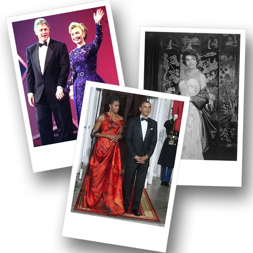 Hillary Clinton, Jacky Kennedy, Michelle Obama three American first lady wearing Oscar de La Renta