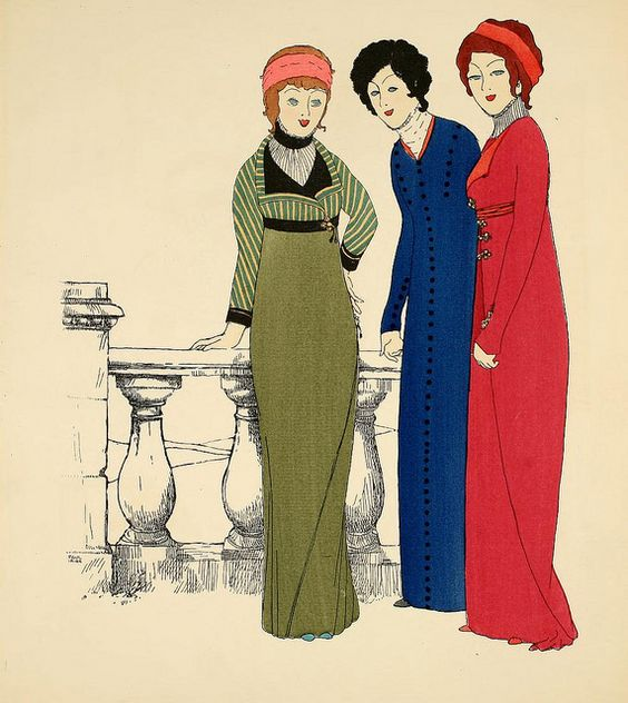 Les Robes de Paul Poiret, 1908. Art-Nouveau -styled fashion plate by French fashion designer Paul Poiret. The hand-stenciled pochoir print by the artist Paul Iribe. (SOURCE: Pinterest)