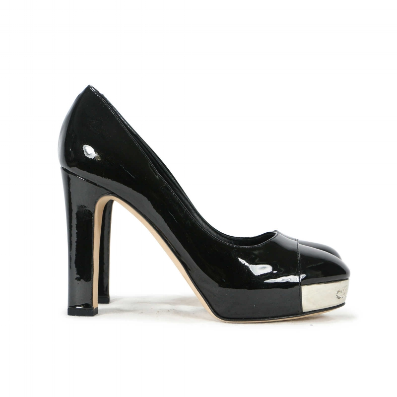 CHANEL Patent Leather Metal Cap Toe Pumps