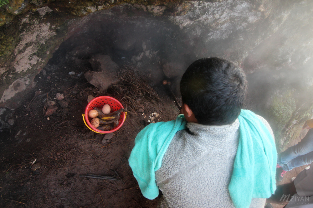 Mt Batur being an active volcano, our guide made us breakfast by cooking eggs and bananas over the volcanic steam!