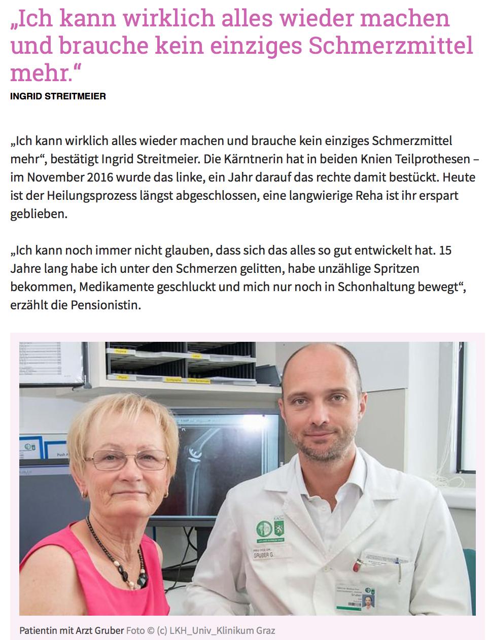 Kleine Zeitung - Arthrose: Neue Alternative zu Prothese