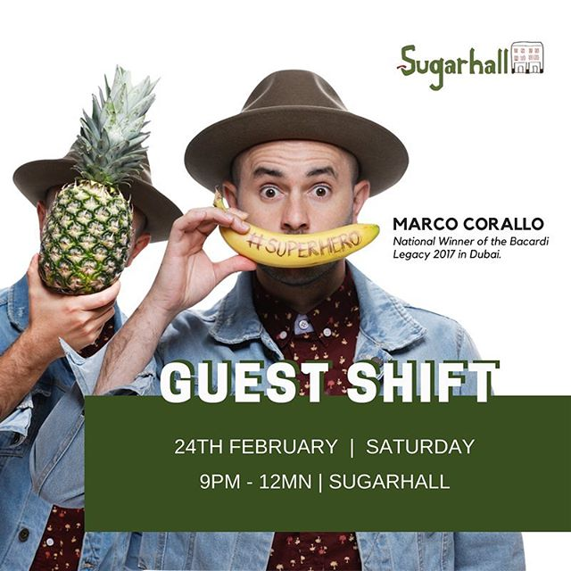 You're defo in for some treats 🤫 Catch Marco Corallo behind the bar, this Saturday, 24th Feb!! P.s. Marco is the National Winner of the Bacardi Legacy 2017 in Dubai✨