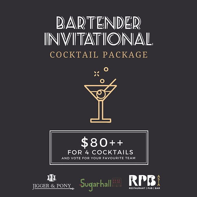 World Cup might be over soon, but the RPB Bartender Invitational Final Challenge isn't 😌 . Just for one day, we'll be having an exclusive cocktail package where all guests who purchase will get to vote for your favourite team. May the odds be in your favour ✨ . Mechanics: 1. Purchase the Bartender Invitational package at $80++ at either @jiggerandponysg or @sugarhallsg  2. Guests will be entitled to 4 cocktails (one cocktail per team) 3. Guests will be given a token to vote for their favourite team