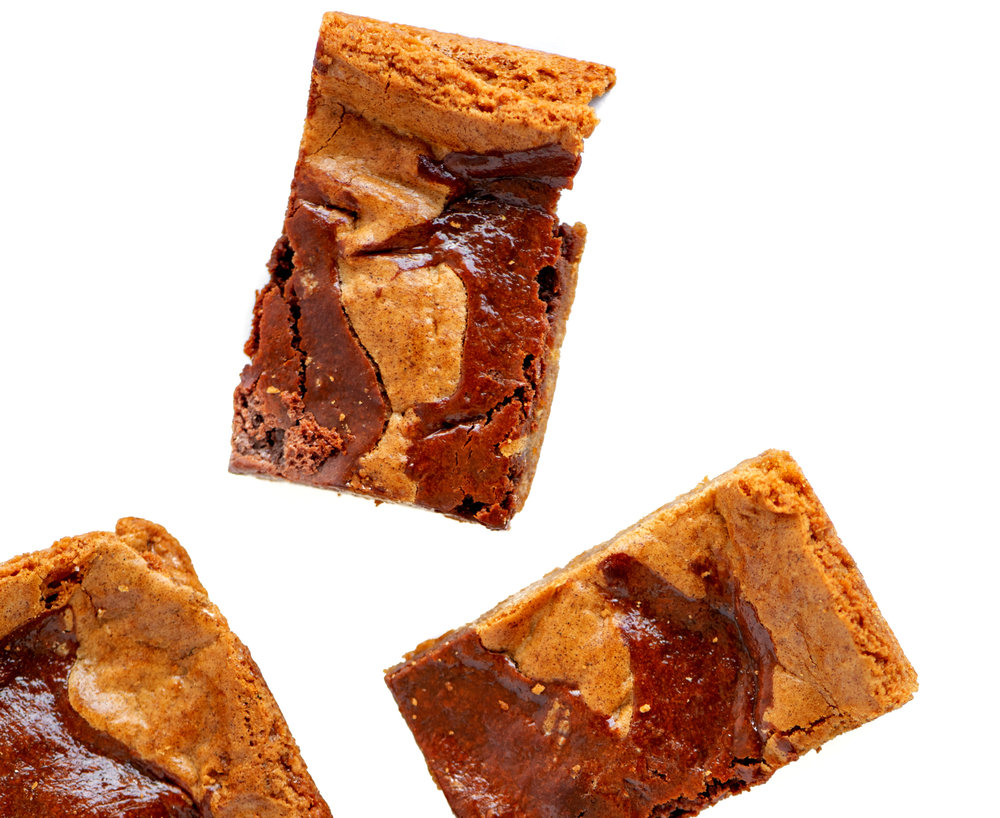 Coffee Brig Blondies - Rich and Buttery Caramel Batter with Mocha Brig Swirls