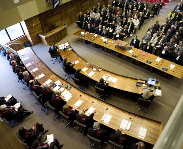 Aerial view of the court room ceremony. Picture credit:  here