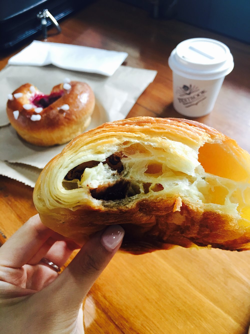 Textbook Boulangerie Patisserie in Alexandria. A chocolate croissant and piccolo go so well together for a quick Saturday treat.